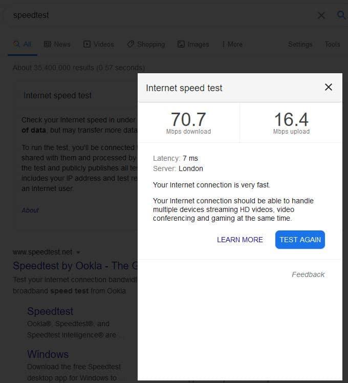 Speed Test through Google Search
